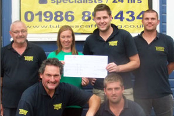 Tubes Scaffolding cheque presentation