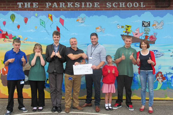 Tubes Scaffolding cheque presentation Parkside school